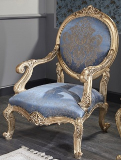 Casa Padrino Luxus Barock Salon Stuhl Hellblau / Antik Gold 65 x 85 x H. 120 cm - Barockmöbel