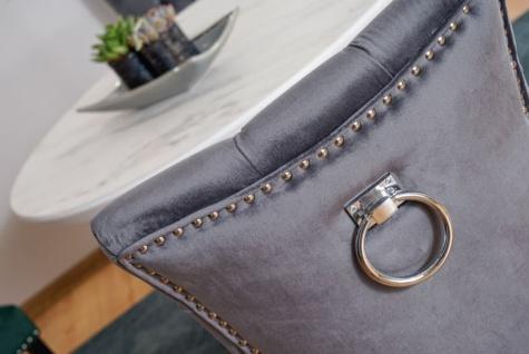 Casa Padrino Luxus Chesterfield Esszimmer Stuhl Grau / Silber / Schwarz - Küchenstuhl mit Samtstoff - Esszimmer Möbel - Vorschau 4