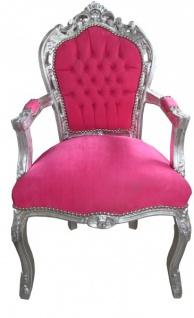 Casa Padrino Barock Esszimmerstuhl Pink / Silber mit Armlehnen - Stuhl Möbel