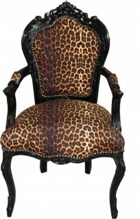 Casa Padrino Barock Esszimmer Stuhl Leopard / Schwarz mit Armlehnen