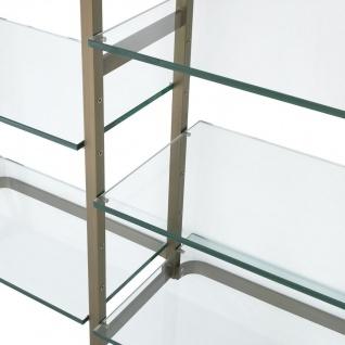Casa Padrino Luxus Regalschrank Messingfarben 222, 5 x 51 x H. 238 cm - Edelstahl Schrankwand mit 18 verstellbaren Glasregalen - Wohnzimmerschrank - Büroschrank - Luxus Möbel - Vorschau 5