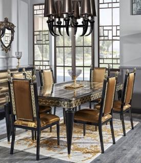 Casa Padrino Luxus Barock Esszimmer Set Gold / Schwarz - 1 Esstisch und 6 Esszimmerstühle - Esszimmermöbel im Barockstil