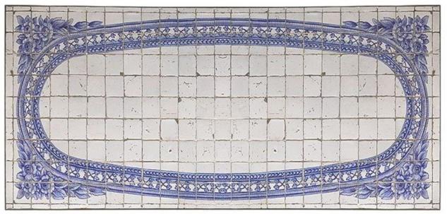 Casa Padrino Luxus Barock Mosaik Fliesen Tischplatte Antik Weiß / Blau - Verschiedene Größen - Handgefertigte & Handbemalte Naturstein Esstisch Tischplatte - Barock Möbel