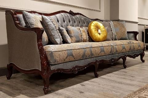 Casa Padrino Luxus Barock Sofa Silber / Beige / Dunkelbraun - Prunkvolles Wohnzimmer Sofa mit elegantem Muster - Barock Möbel