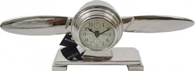 Casa Padrino Designer Luxus Tischuhr Aluminium Propeller - Edel & Prunkvoll - Tisch Uhr