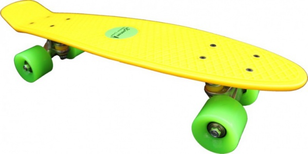Koston Oldschool Skateboard Plastic Cruiser 70s Style Yellow/Green - 22 x 6.0 inch - Plastik Vinyl Skateboard