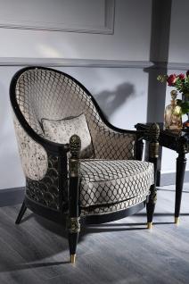 Casa Padrino Luxus Barock Sessel Silbergrau / Schwarz / Gold 80 x 91 x H. 101 cm - Barock Wohnzimmermöbel