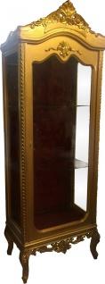 Casa Padrino Barock Vitrine Gold / Bordeaux H 205 cm, B 70 cm - Vitrinenschrank - Wohnzimmerschrank Glasvitrine - Antik Look