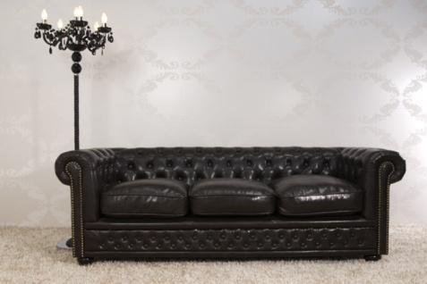 Chesterfield 3er Sofa Dunkelbraun aus dem Hause Casa Padrino - Couch Braun
