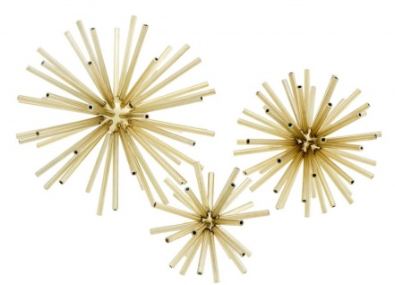 Casa Padrino Luxus Designer Deko 3er Set Messing - Wohnzimmer Dekoration