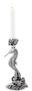 Casa Padrino Designer Kerzenständer Seepferdchen & Muscheln Antik Silber 15 x 12, 5 x H. 26, 5 cm - Luxus Messing Kerzenhalter