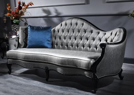 Casa Padrino Luxus Barock Sofa Silber / Schwarz 250 x 92 x H. 103 cm - Prunkvolles Wohnzimmer Sofa im Barockstil