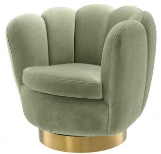 Casa Padrino Luxus Drehsessel Pistaziengrün / Messingfarben 90 x 80 x H. 80 cm - Wohnzimmer Samt Sessel - Luxus Möbel