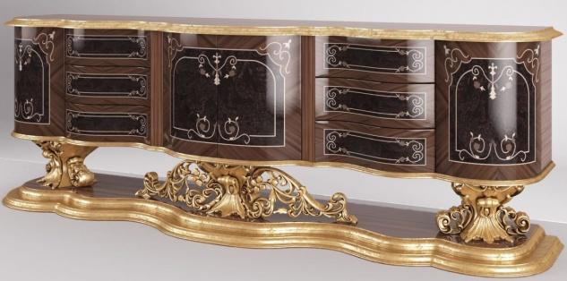 Casa Padrino Luxus Barock Sideboard Braun / Antik Gold 305 x 50 x H. 115 cm - Prunkvoller Wohnzimmer Schrank - Edel & Prunkvoll