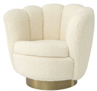 Casa Padrino Luxus Drehsessel Weiß / Messingfarben 95 x 83 x H. 83 cm - Wohnzimmer Sessel mit künstlichem Lammfell - Luxus Möbel