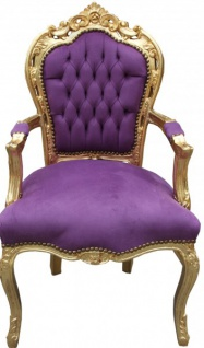Casa Padrino Barock Esszimmer Stuhl mit Armlehnen Lila / Gold