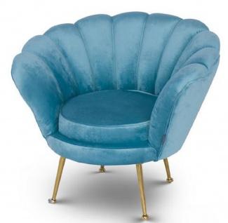 Casa Padrino Designer Kinder Samt Sessel Hellblau / Messingfarben 96 x 79 x H. 78 cm - Luxus Kindermöbel