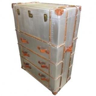 Casa Padrino Art Deco Vintage Koffer Schrank Kommode Aluminium / Leder - Vintage Look Flieger Kommode - Vorschau 2