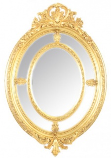 Casa Padrino Barock Wandspiegel Oval Gold 100 x 150 cm - Edel & Prunkvoll - Goldener Spiegel