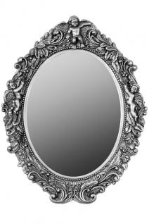 Casa Padrino Barock Wandspiegel Oval Silber Höhe 53 cm, Breite 40 cm - Edel & Prunkvoll - Vintagelook - Handgefertigt