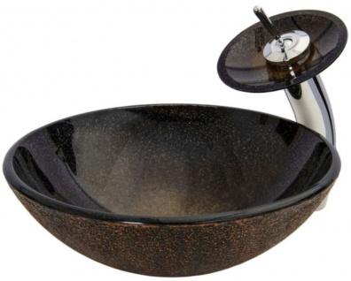 Casa Padrino Designer Waschtisch Set Braun / Kupferfarben / Silber Ø 43 x H. 30 cm - Einhebel Wasserhahn mit rundem Glas Waschbecken - Luxus Bad Zubehör