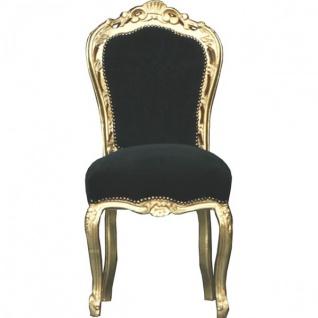 Casa Padrino Barock Esszimmer Stuhl Schwarz / Gold - Möbel Antik Stil - Esszimmerstuhl