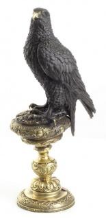 Casa Padrino Bronzefigur Adler Schwarz / Gold 13, 3 x 18, 9 x H. 42, 6 cm - Luxus Dekoration