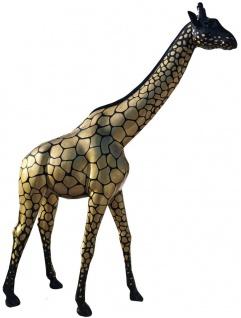 Casa Padrino Designer Deko Giraffe Schwarz / Gold H. 320 cm - Riesige Dekofigur - Lebensgroße Tierfigur - Gartendeko Skulptur