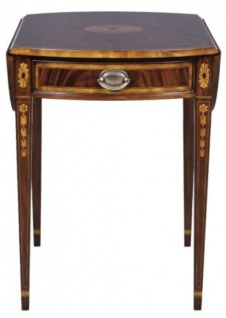 Casa Padrino Luxus Mahagoni Beistelltisch mit Schublade Braun 96 x 77 x H. 73 cm - Wohnzimmermöbel
