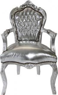 Barock Esszimmerstuhl Silber / Silber mit Armlehne Stuhl Möbel Antik Stil