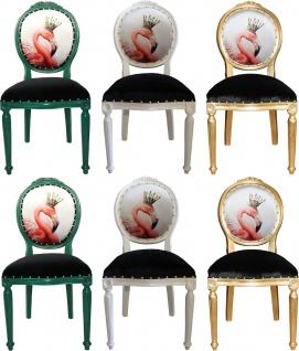 Casa Padrino Luxus Barock Esszimmer Set Flamingo mit Krone Grün / Weiß / Gold 48 x 50 x H. 98 cm - 6 handgefertigte Esszimmerstühle mit Bling Bling Glitzersteinen - Barock Esszimmermöbel