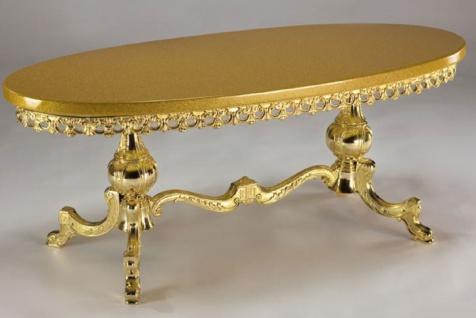 Casa Padrino Luxus Barock Couchtisch Gold 121 x 51 x H. 47 cm - Ovaler Messing Wohnzimmertisch mit Massivholz Tischplatte - Wohnzimmer Möbel im Barockstil - Edle Barock Möbel
