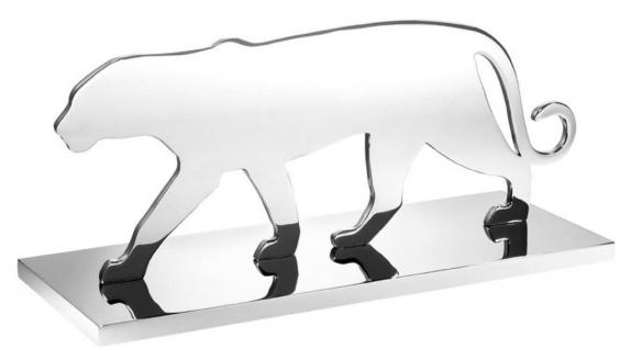 Casa Padrino Luxus Edelstahl Dekofigur Panther Silhouette Silber 36 x 12, 5 x H. 15 cm - Luxus Dekoration