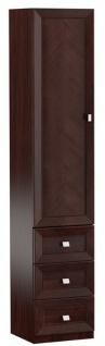 Casa Padrino Luxus Wohnzimmerschrank mit Tür und 3 Schubladen Dunkelbraun / Silber 45, 4 x 44, 2 x H. 225, 6 cm - Büroschrank - Luxus Möbel