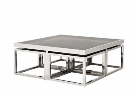 Casa Padrino Luxus Art Deco Designer Couchtisch 5er Set mit Rauchglas - Wohnzimmer Salon Tisch - Luxus Qualität - Vorschau 3