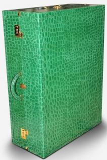 Casa Padrino Luxus Echtleder Koffer mit Zahlenschloss und Rollen Grün / Gold 42 x 22 x H. 70 cm - Reisekoffer aus hochwertigem Leder - Luxus Accessoires