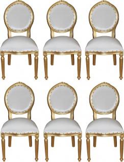 Casa Padrino Luxus Barock Esszimmer Set Medaillon Weiß / Gold 50 x 52 x H. 99 cm - 6 handgefertigte Esszimmerstühle - Barock Esszimmermöbel