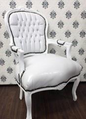 Casa Padrino Barock Salon Stuhl Weiß / Weiß Lederoptik - Möbel