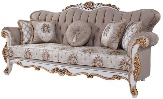 Casa Padrino Luxus Barock Sofa mit Kissen Grau / Mehrfarbig / Weiß / Bronze 232 x 87 x H. 101 cm - Wohnzimmer Couch mit Blumenmuster und wunderschönen Verzierungen