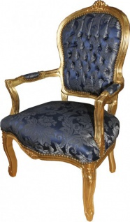 Casa Padrino Barock Salon Stuhl Royal Blau Muster / Gold - Möbel Lounge Hotel - Vorschau 4