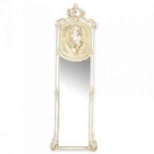 Casa Padrino Luxus Barock Wandspiegel Madonna Creme 175 x 55 cm - Massiv und Schwer - Antik Stil Spiegel