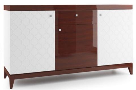 Casa Padrino Luxus Kommode mit 3 Türen und Schublade Weiß / Hochglanz Braun 171, 4 x 45 x H. 96, 6 cm - Luxus Möbel