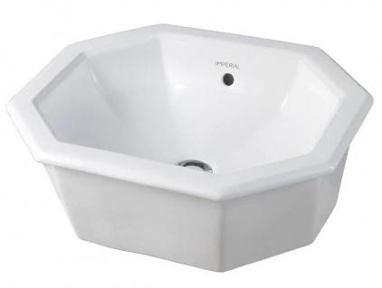 Casa Padrino Luxus Einsatz Waschbecken Weiß 50 x 41, 5 x H. 17.5 cm - Keramik Waschbecken zum Einsetzen - Luxus Qualität - Jugendstil Art Deco