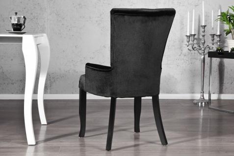 Casa Padrino Luxus Esszimmer Stuhl mit Armlehnen und Strasssteinen, Schwarz Mod2 - Barock Möbel - Vorschau 3