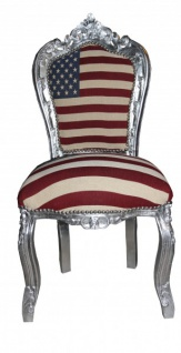 Casa Padrino Barock Esszimmer Stuhl USA Design / Silber