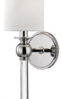Casa Padrino Luxus Wandleuchte Silber / Weiß 12, 7 x 17, 2 x H. 56, 5 cm - Wandlampe mit Kristallglas und rundem Seiden Lampenschirm - Vorschau 2