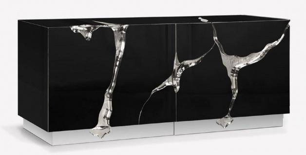 CPBlack Luxus Sideboard by Casa Padrino Schwarz / Silber