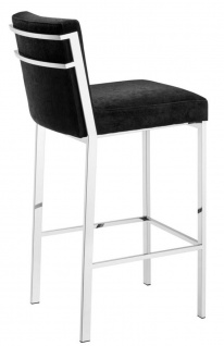 Casa Padrino Designer Hochstuhl / Barstuhl / Barhocker Silber 43 x 54 x H. 101 cm - Luxus Qualität - Vorschau 3
