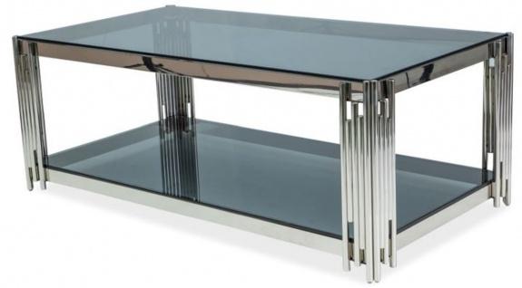 Casa Padrino Luxus Couchtisch Silber / Schwarz 120 x 60 x H. 40 cm - Edelstahl Wohnzimmertisch mit getönten Glasplatten - Luxus Möbel