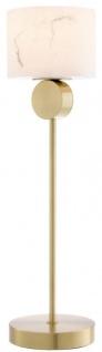 Casa Padrino Luxus Tischleuchte Messingfarben / Alabaster Ø 20 x H. 76 cm - Moderne Tischlampe mit rundem Alabaster Lampenschirm - Luxus Leuchten